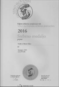 Srebrna medalja - Pomurski sejem VS Gornja Radgona 2016