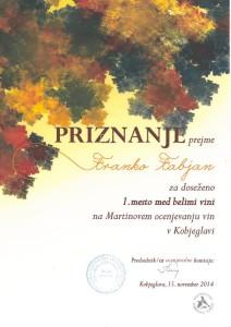 Priznanje 1. mesto med belimi vini - Kobjeglava 2014