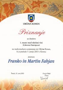 Priznanje 1. mesto med rdečimi vini - Cabernet Sauvignon - Občina Komen 2013