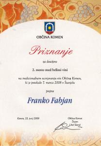 Priznanje 2.mesto med belimi vini - Društvo V&V Kras 2008