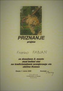 Priznanje 2.mesto med belimi vini - Kras 2008