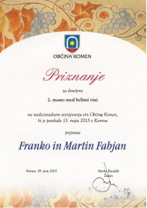 Priznanje za 2. mesto med belimi vini - Občina komen 2015