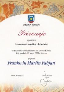 Priznanje za 3. mesto med starejšimi rdečimi vini -Občina Komen 2015