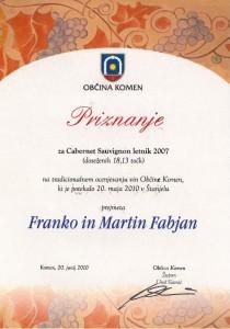 Priznanje za Cabernet Sauvignon l. 2007 - Občina Komen 2010